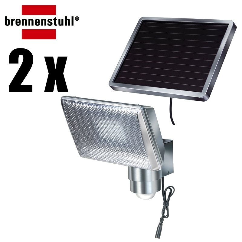 2 x brennenstuhl solar led strahler sol 80 alu ip44 ebay. Black Bedroom Furniture Sets. Home Design Ideas